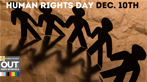 brown background with black paper cut out people for Human Rights Day