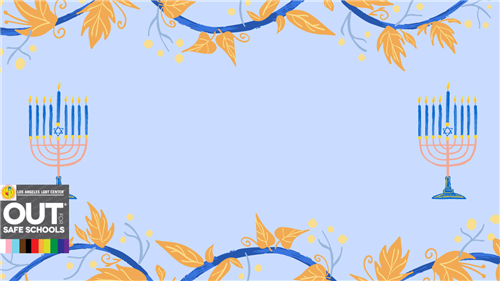 blue background with leaves and menorahs