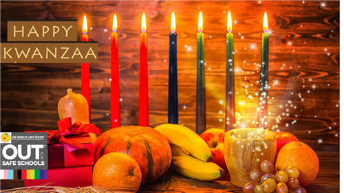 kwanzaa backgrouund with gourds and candles