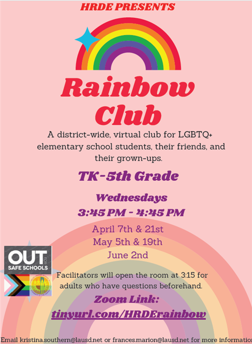 pink flyer with text for rainbow club