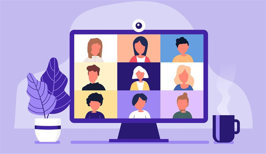 Purple and multicolor computer with many people engaging in virtual meeting