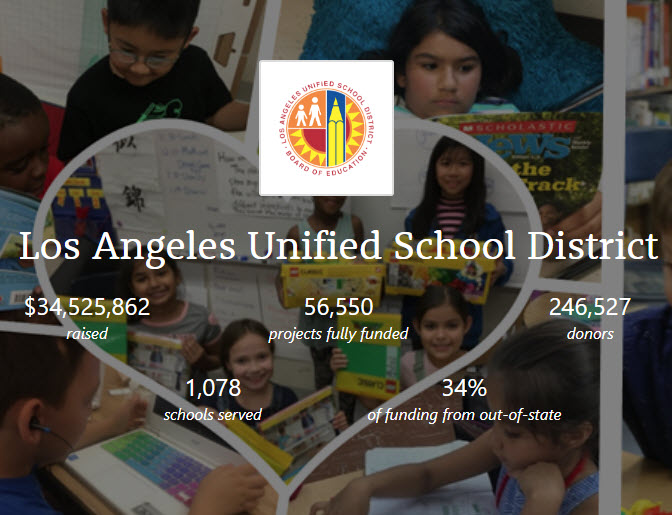 Los Angeles Unified Partners with DonorsChoose.org To Give Student Projects a Boost (9-30-19)