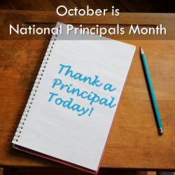 "Photograph of notepad that says, ""Thank a principal today."""