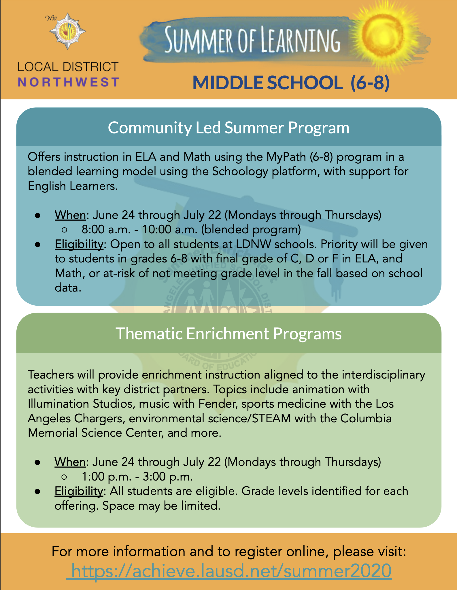 Flyer for Middle School (6 - 8)