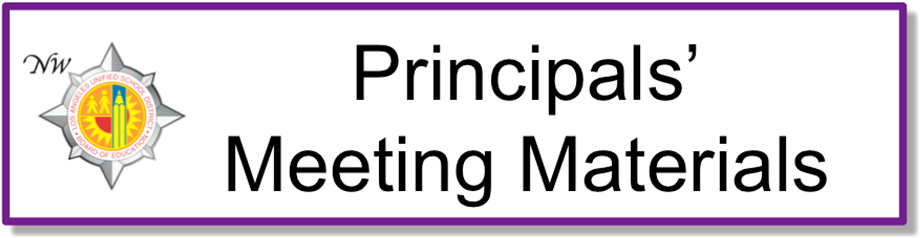 Principals' Meeting Materials