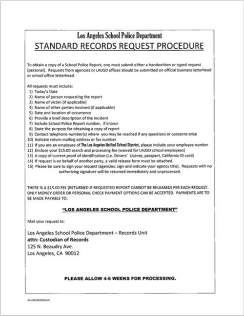 LA School Police / LASPD Records