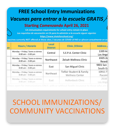 School Immunizations/Community Vaccinations - button