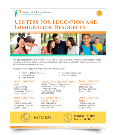 Center for Edication and Immigration flyer