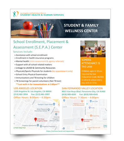 School Enrollment, Placement & Assessment Center flyer