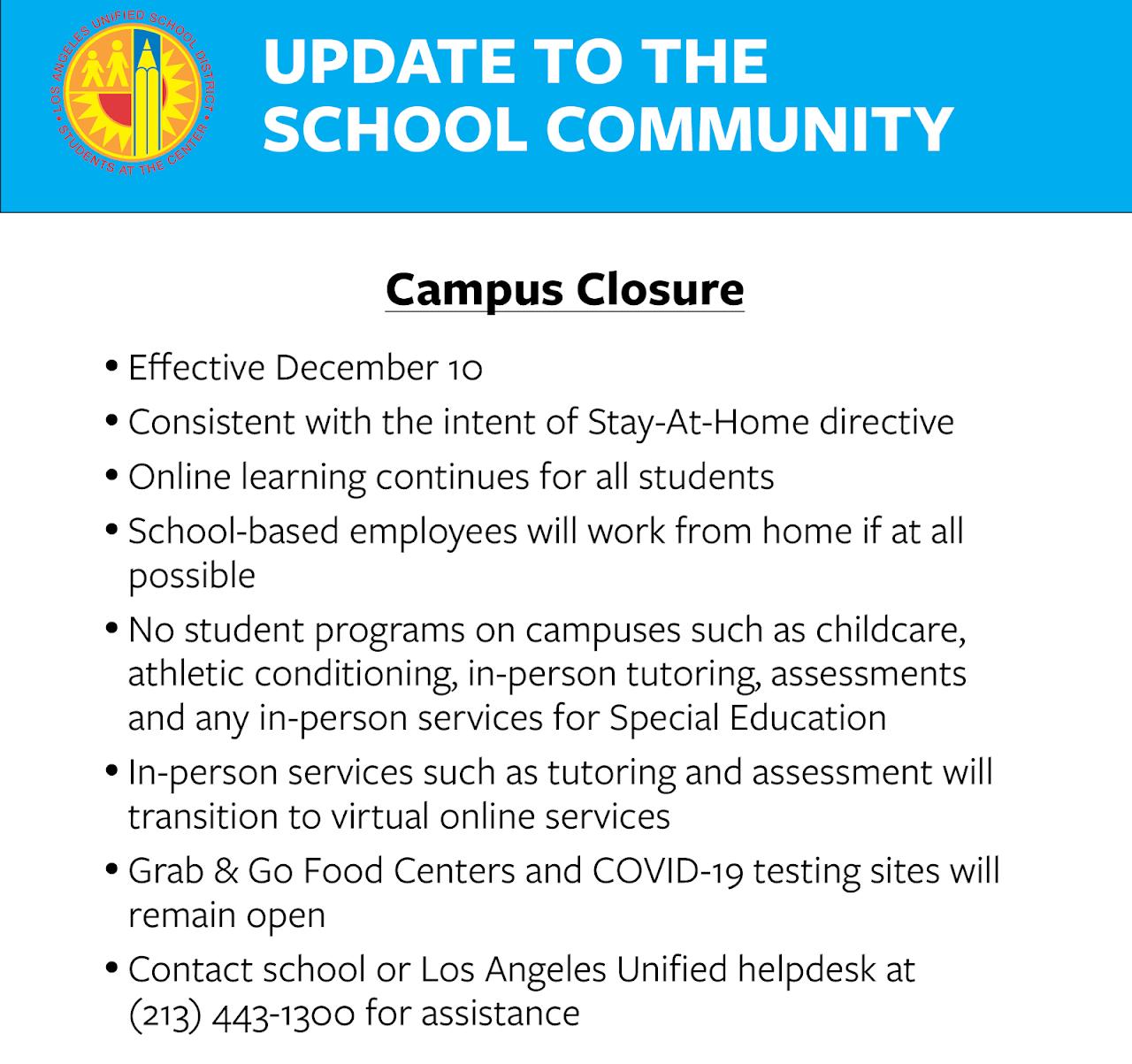 School Closure Announcement English (graphic)