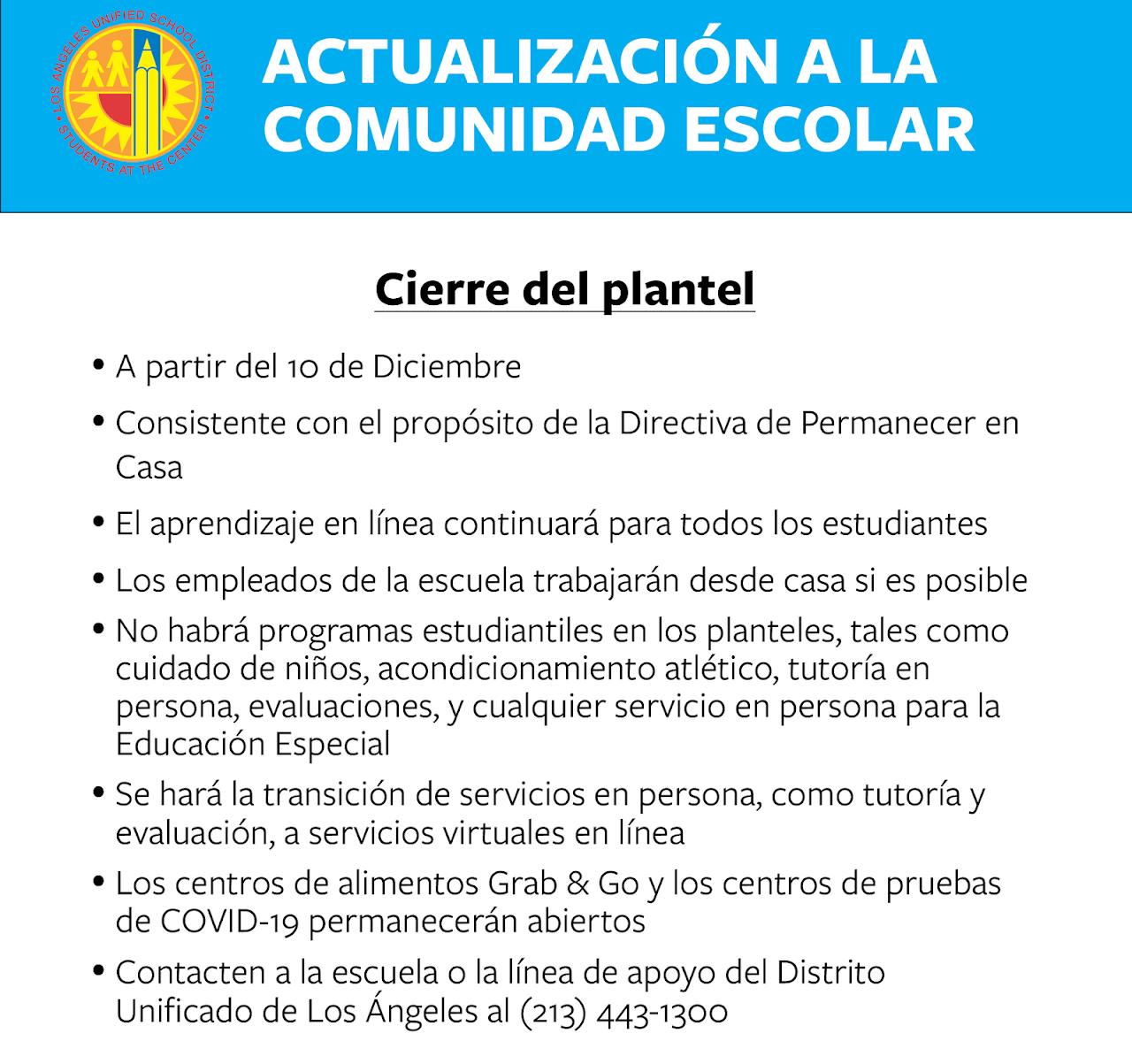 School Closure Announcement Spanish (graphic)