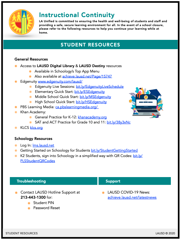 Flyer in English for Student Resources