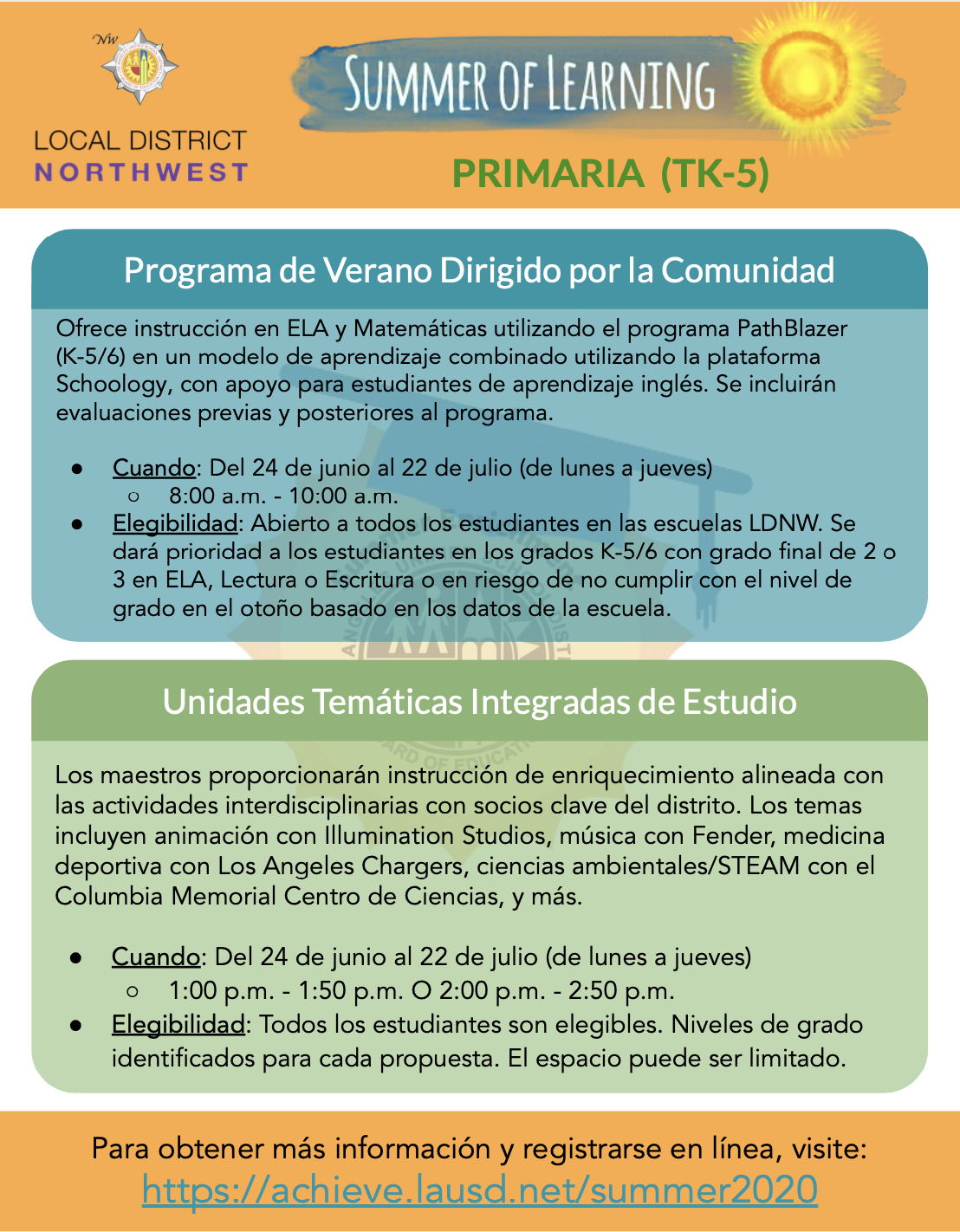 Flyer for Elementary (K - 5/6) Spanish