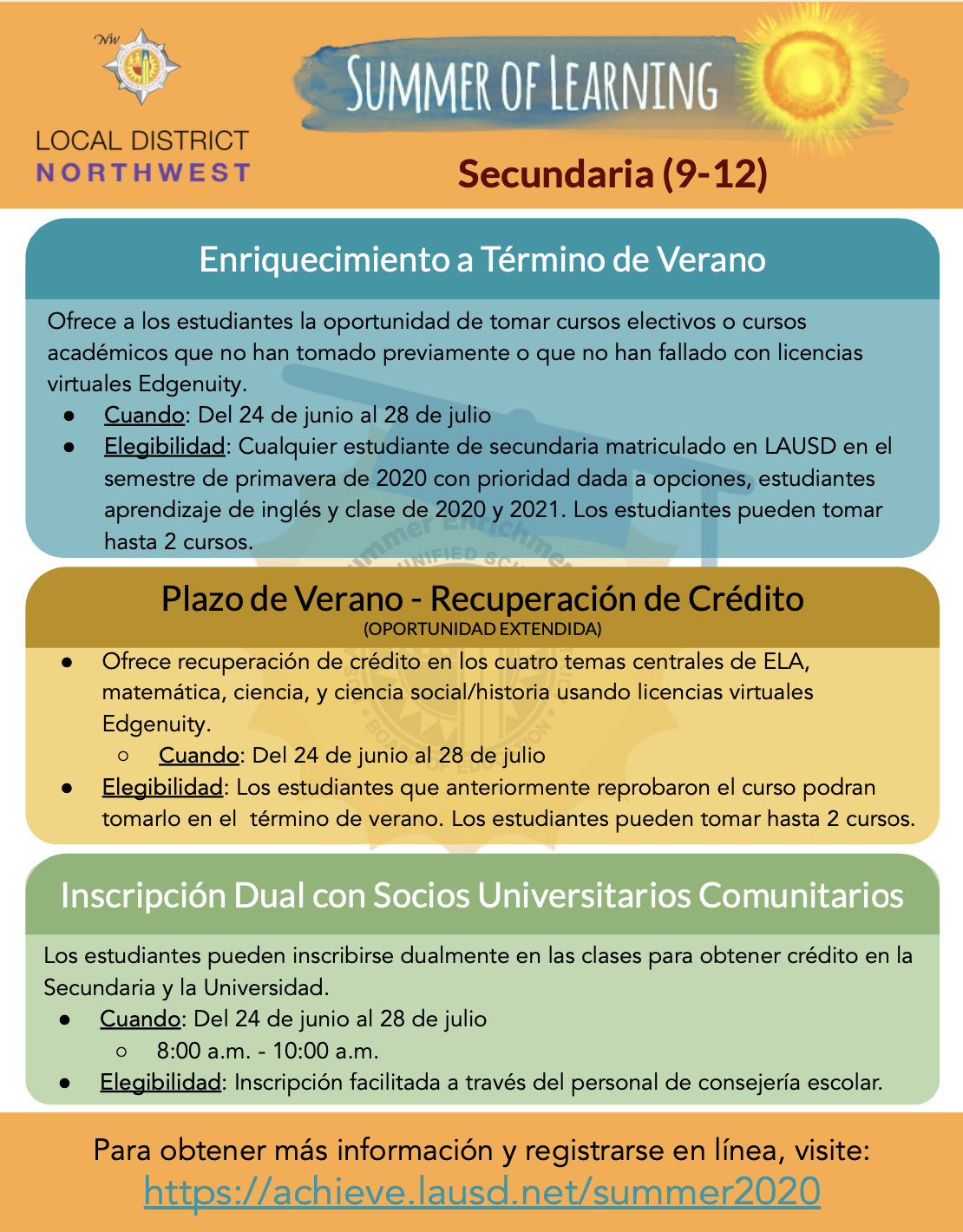 Flyer for High School (9 - 12) Spanish